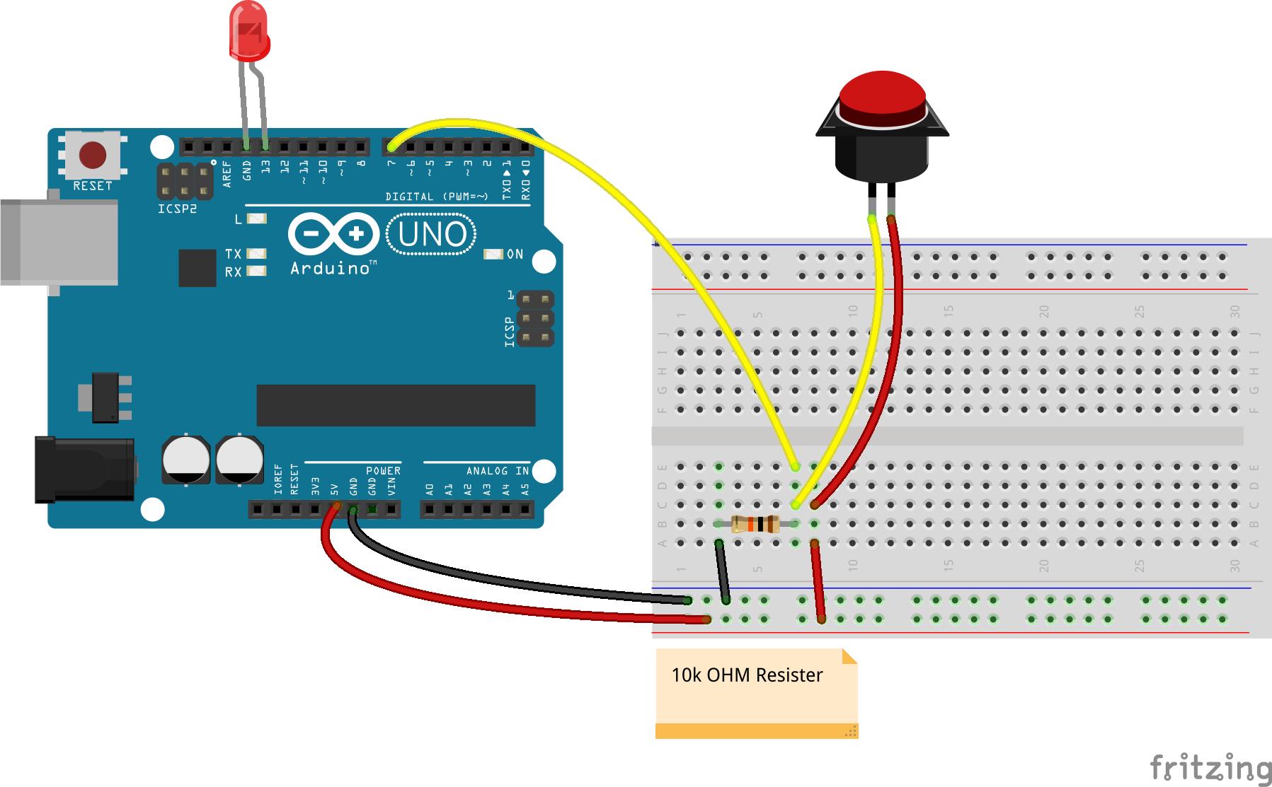 Javascript robotics button bumper with johnny five