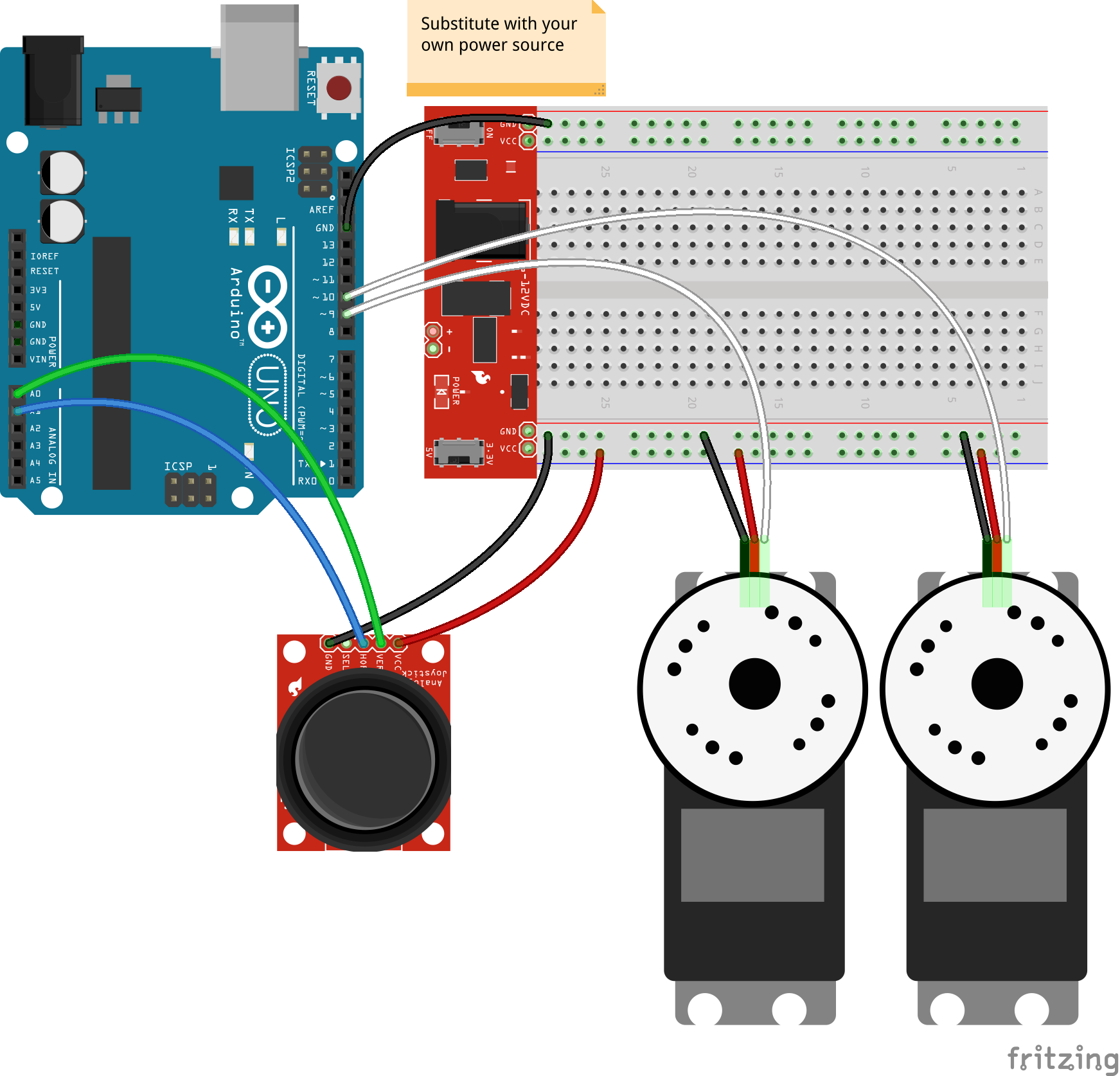 JavaScript Robotics: Joystick - Pan + Tilt control with Johnny-Five