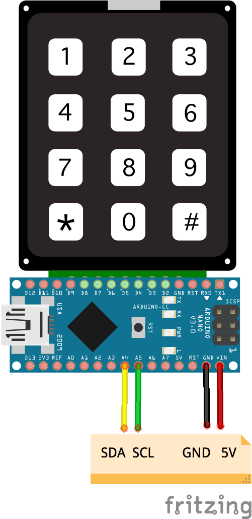 JavaScript Robotics: Keypad - 3x4 I2C Nano Backpack with