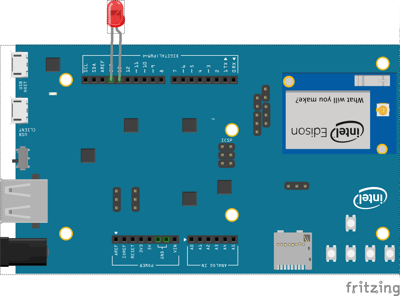 Javascript Robotics Led Blink On Intel Edison Arduino Board With Blinking Circuit Schematics And Explanation Pin 13