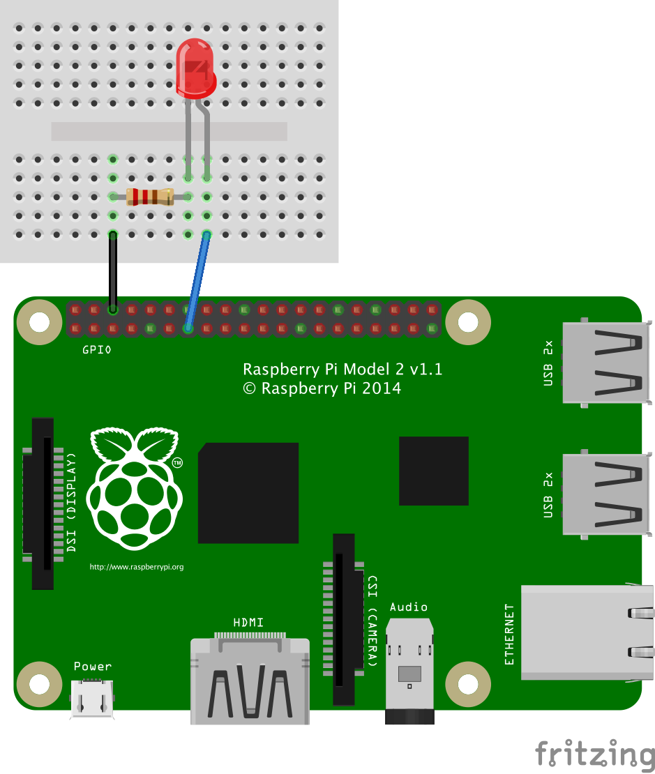 javascript robotics  led blink on raspberry pi with johnny