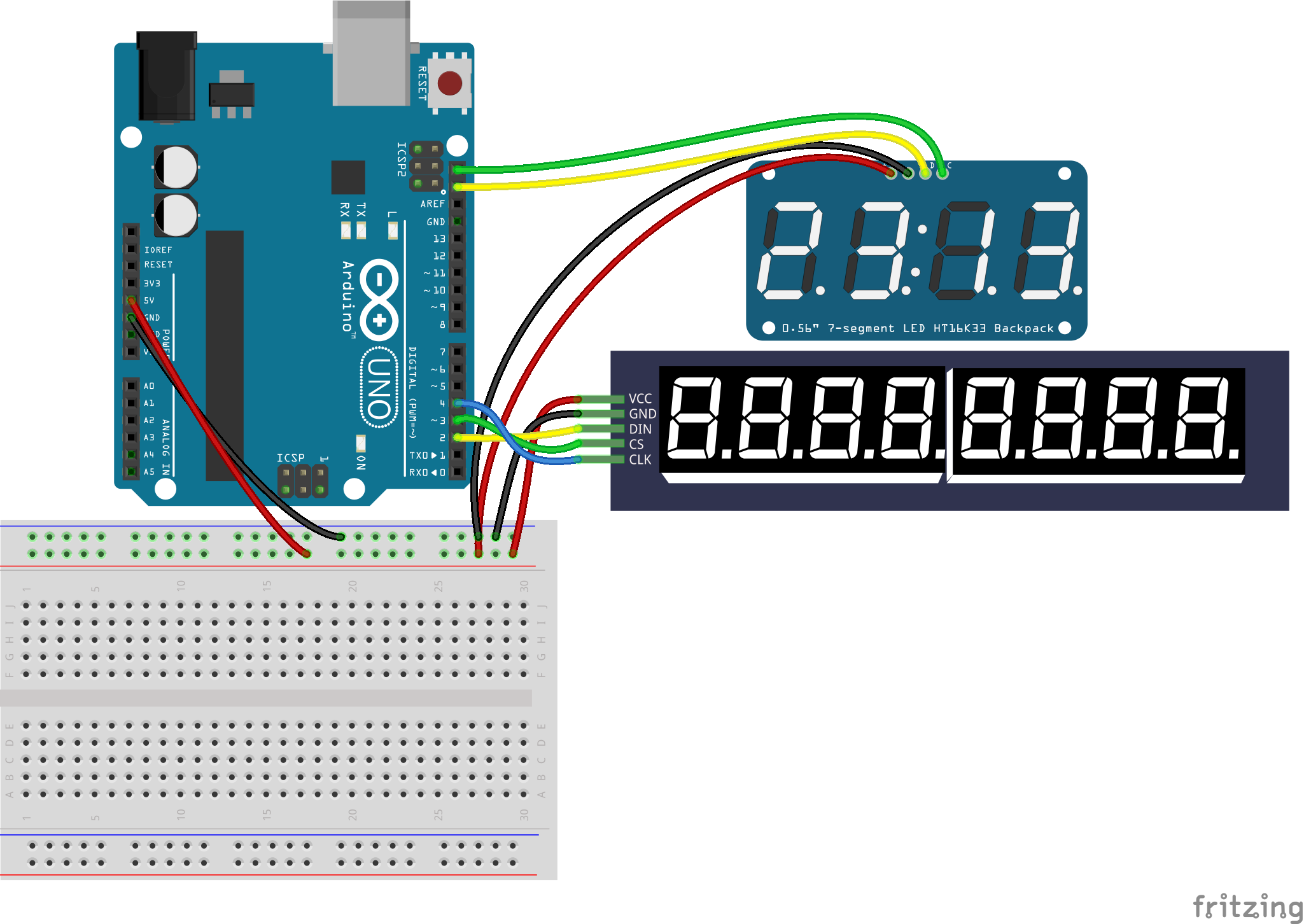 JavaScript Robotics: LED - Digital Clock, Dual Displays with
