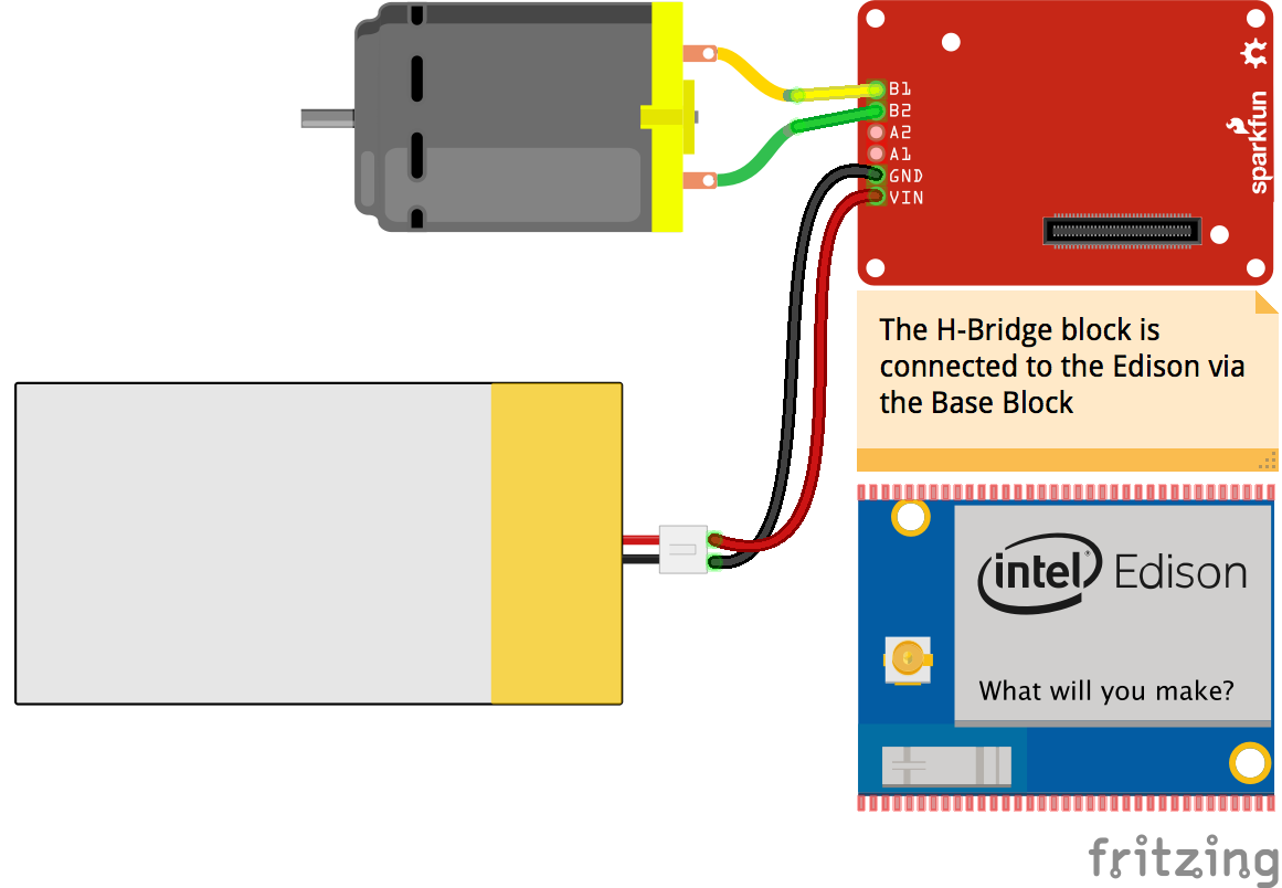 Javascript Robotics Motor Sparkfun Dual H Bridge Edison Block Diagram Io Breadboard For